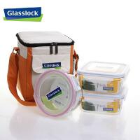 SGYC65三光云彩glasslock钢化玻璃饭盒保鲜盒便当盒微波炉饭盒三件套玻璃杯GL36