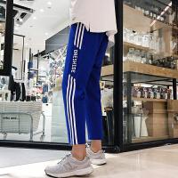 夏季新款男士港风潮流三条白杠织带卫裤青少年运动休闲裤