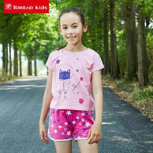 探路者Toread kids 女童卡通系列短T/短裤套装