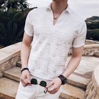 夏季新款男士短袖�r衫�n版修身�l型��夜店男�b��性印花V�I寸衫薄