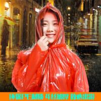 成人便携塑料雨衣带帽带袖薄雨衣步行旅行登山岩动户外一次性雨衣
