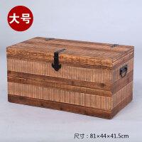 美式实木收纳箱复古陈列装饰箱木箱子原木储物箱展示木箱实木衣箱