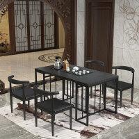 新中式功夫茶几茶台桌椅组合火烧石大理石带电磁炉洽谈泡茶桌套装 组装
