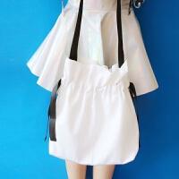 脸蛋日系小清新少女抽带帆布包女单肩包 韩版百搭撞色手提购物袋