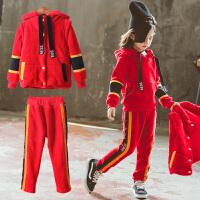 女童套装加绒三件套儿童卫衣运动洋气时尚秋冬装韩版