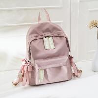 天天特价牛津布双肩包电脑包女韩版女包百搭学生书包蝴蝶结款背包 粉色
