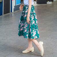 女童半身长裙夏中大童雪纺碎花伞裙韩版公主儿童半身裙子过膝短裙