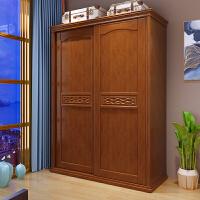 中式实木衣柜1.2米家用卧室小户型二门推拉门滑门衣橱木质家具 2门