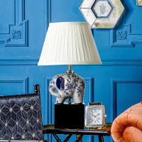 奇居良品 中式家居客厅书房卧室装饰灯具 青花纹小象陶瓷台灯
