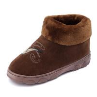 男士棉拖鞋包跟保暖毛绒加厚室内大码居家用棉鞋
