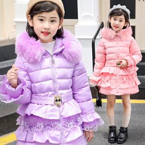 乌龟先森 儿童棉衣 女童连帽毛领中长款加厚棉袄秋冬新款韩版时尚中大童女孩子公主款休闲外套