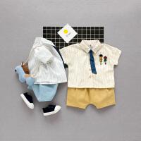 宝宝套装夏装1一3岁潮婴儿夏季衣服短袖衬衫两件套新生儿套装新款