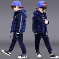 儿童洋气运动男孩帅气衣服三件套潮童装男童冬装套装