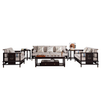 新中式沙发禅意客厅轻奢实木沙发组合现代中式别墅样板房家具定制 沙发组合 1+2+3+茶+2角 组合