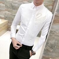 衬衫男长袖修身 韩版 潮流 帅气青少年学生白衬衣个性夜店花寸衫