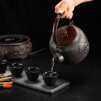 空谷幽兰铸铁茶壶铁茶壶日本南部生铁壶茶具烧水纯手工无涂层电陶炉家用礼品套装铸铁壶无涂层