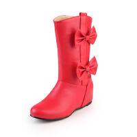 ELEISE美国艾蕾莎新品秋冬189-L-1韩版超纤皮内增高女士短靴