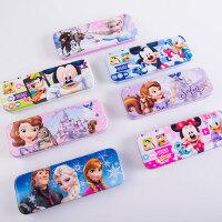 迪士尼小学生创意文具盒男女孩卡通笔袋多功能大号双层铅笔盒铁盒