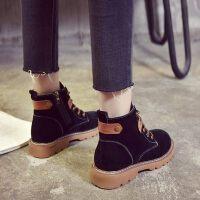 女英伦风学生韩版百搭平底短靴子潮新款chic加绒马丁靴