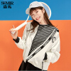 森马夹克女秋季新款女装港味短款外套韩版立领学生上衣白