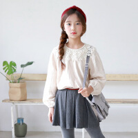 TS4179韩版童装18年新款童长袖时尚百搭童装灯笼袖女童花边上衣