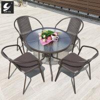 带伞庭院桌椅欧式藤椅三件套户外休闲编藤桌椅阳台茶几五件套