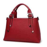 秋季新款手提包女包纯色单肩斜跨女士大包一件 酒红色