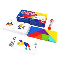 TOI儿童七巧板智力拼图玩具3-6岁早教益智开发英语卡片幼儿园教具