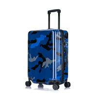 迷彩纹拉杆箱时尚万向轮行李箱女密码箱20寸24寸旅行箱 宝蓝色 20寸迷彩纹