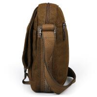 男士帆布包单肩包美式休闲帆布男包斜挎包小跨包背包 咖啡色