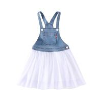 小猪班纳童装女童连衣裙中大童裙子儿童牛仔裙背吊裙吊带裙工装