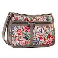 女士尼龙包花布包包新款女包拉链斜挎包妈妈大包富贵花帆布包 卡其色 富贵花