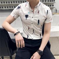 夏季男士时尚短袖衬衫韩版修身英伦花衬衣青年发型师夜店紧身寸衣