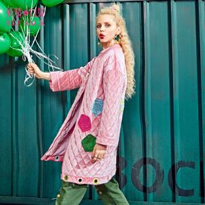 【2件3折】妖精的口袋一颗明星冬装新款贴布绣丝绒拉链撞色棉服长款女