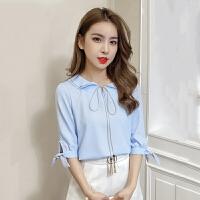 衬衫 女士系带荷叶边娃娃领衬衫2019夏季新款韩版时尚女式职场休闲雪纺衫女装半袖