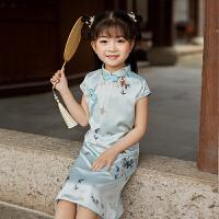 女童旗袍夏季复古连衣裙儿童唐装中国风女孩丝绸裙子