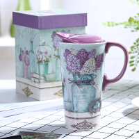 爱屋格林手绘陶瓷杯礼盒装创意咖啡杯带盖水杯马克杯