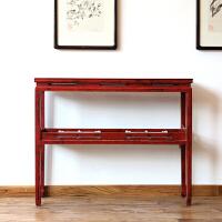 新中式玄关台实木简约窄边小置物架门厅装饰柜复古做旧长条案供桌 整装