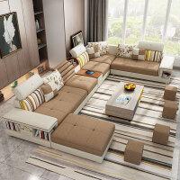 布艺沙发组合现代简约客厅整装可拆洗大小户型转角经济型U型套装 电视柜