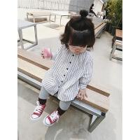 女童衬衫17秋韩版女宝宝纯棉条纹衬衣小女孩长袖百搭娃娃衫