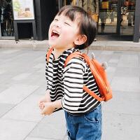 女童打底衫春装2018新款宝宝T恤圆领儿童春秋条纹拼接七分袖体恤