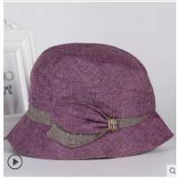 老年人女士帽子妈妈时装帽中老人帽奶奶女秋中年布帽盆礼帽