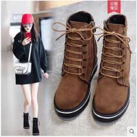 马丁靴女英伦风新款秋季百搭韩版坡跟厚底内增高鞋网红短靴冬