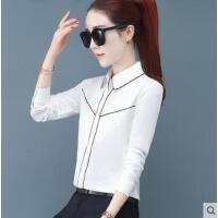 白色雪纺衬衫长袖女士户外新品网红同款新款职业装上衣修身工装百搭衬衣