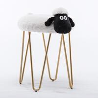 创意铁艺化妆凳小羊拆洗凳子北欧设计师家具梳妆凳美甲店矮凳 白肖恩 土豪金烤漆可拆洗