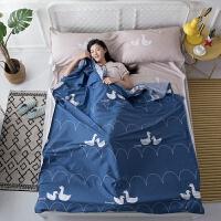 旅行棉睡袋宾馆旅游便携式酒店隔脏防脏床单室内胆双人睡袋 蓝色 小萌萌180X230