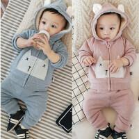 婴儿冬季套装 男女宝宝加绒保暖外出服 新生儿0-1岁冬装上衣PP裤