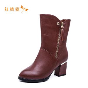 【专柜正品】红蜻蜓圆头粗跟高跟侧拉链时尚女靴子
