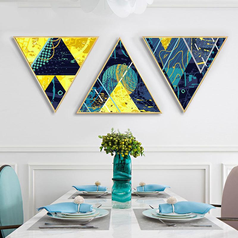御目 挂画 客厅沙发背景装饰画玄关走廊餐厅抽象挂画创意三角形个性月夜墙壁画时尚家饰支持礼品卡支付 创意三角形个性月夜墙壁画
