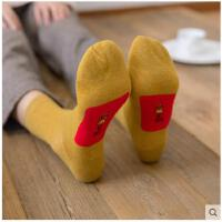 踩小人袜子男女本命年红袜纯棉属猪年秋冬中筒大红色袜情侣休闲袜
